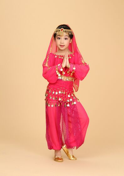 >> Click to Buy << 3 colors 6 pcs Belly Dance Costume kid Child Indian Dancing Performance red rosy yellow Clothing Girl Children Stage Tulle Dress #Affiliate