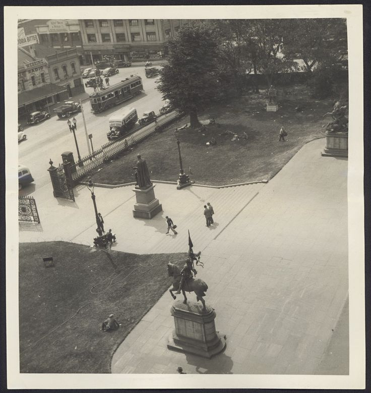 View from State Library Victoria, looking north along Swanston Street, Melbourne, 1938. Photograph State Library Victoria / RH Fowler