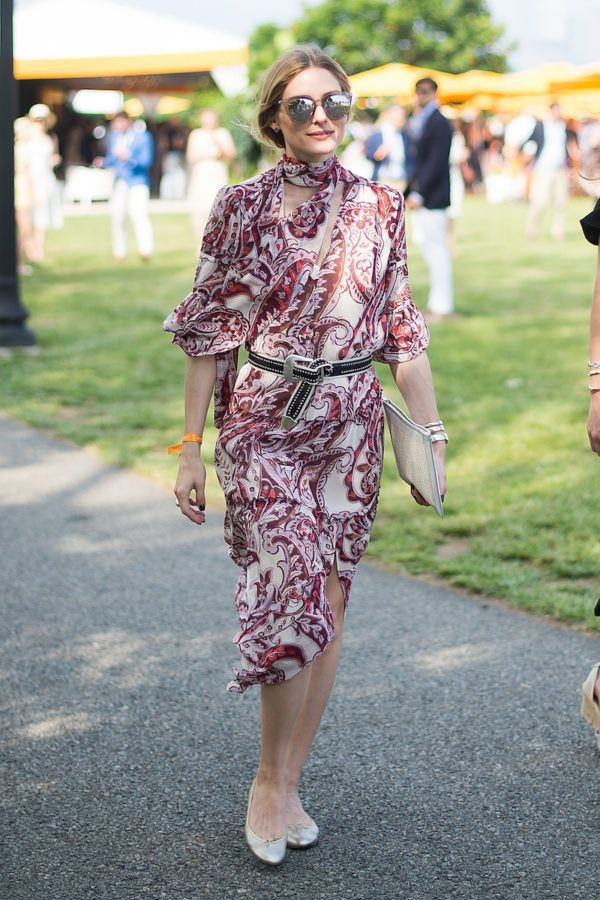 Olivia Palermo gave us a double-take in her asymmetrical paisley frock, cinched in with a studded belt at the 2016 Veuve Clicquot Polo Classic