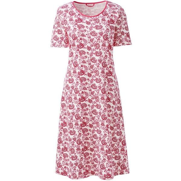 Lands' End Women's Petite Short Sleeve Knee Nightgown ($35) ❤ liked on Polyvore featuring intimates, sleepwear, nightgowns, ivory, petite sleepwear, lands end nightgown, petite nightgown, short sleeve nightgown and lands' end