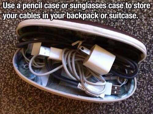 Packing tip. Organization. Packing cords to keep them from getting all tangled up