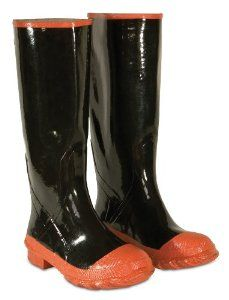 CLC Rain Wear R21016 Red Sole and Toe Rubber Boot, Size 16 by CLC. $24.17. From the Manufacturer                Black Rubber Knee Boot Plain Toe.                                    Product Description                These Rubber Rainboots by Custom Leather Craft® are plain toe. Fitting over your socks these boots go up to the knees and are fabric lined for comfort on the inside. While on the outside these boots feature a bar tread outsole for traction. Keep your feet dry and...