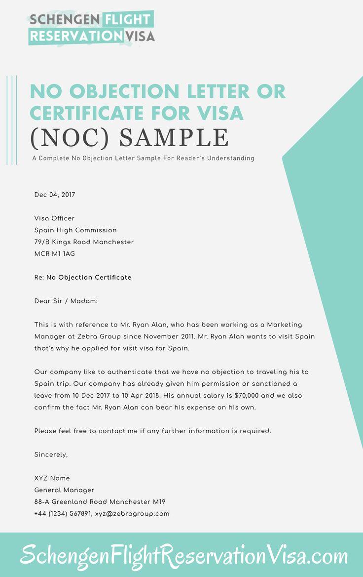 No objection letter for visa application sample