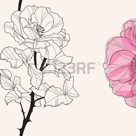 elegante invito floreale con disegnato a mano decorativo rosa