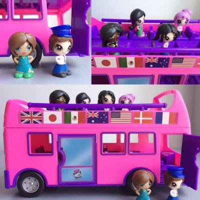 All aboard the Gift'ems Tour Bus! It includes one bus driver doll and comes apart so you can put dolls inside the bus too.