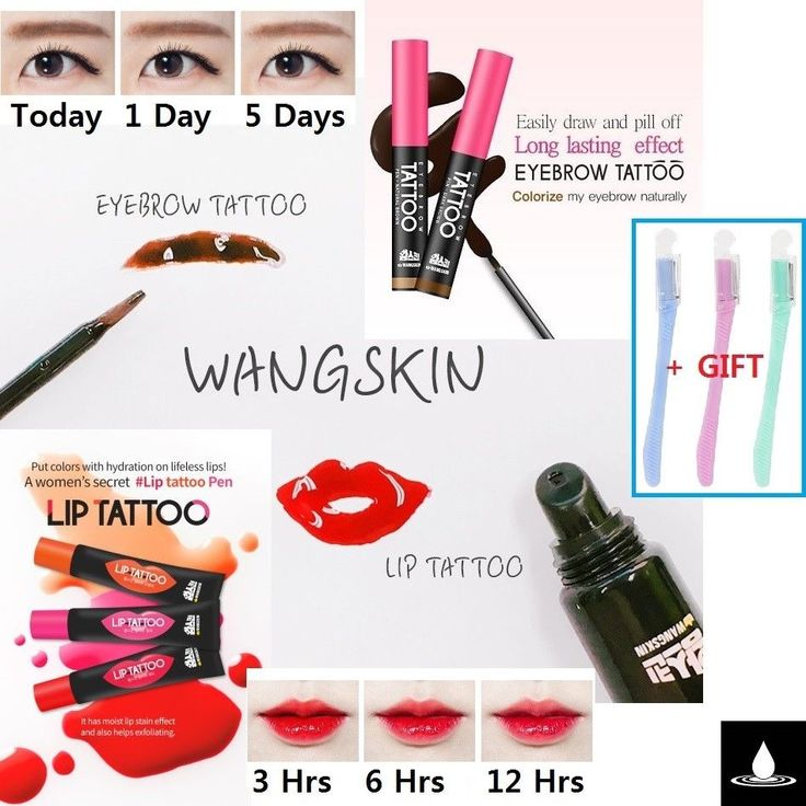 WANGSKIN EYE BROW TATTOO PEN 7days Lasting + LIP TATTOO PEN with Moisture Korea #WANGSKIN