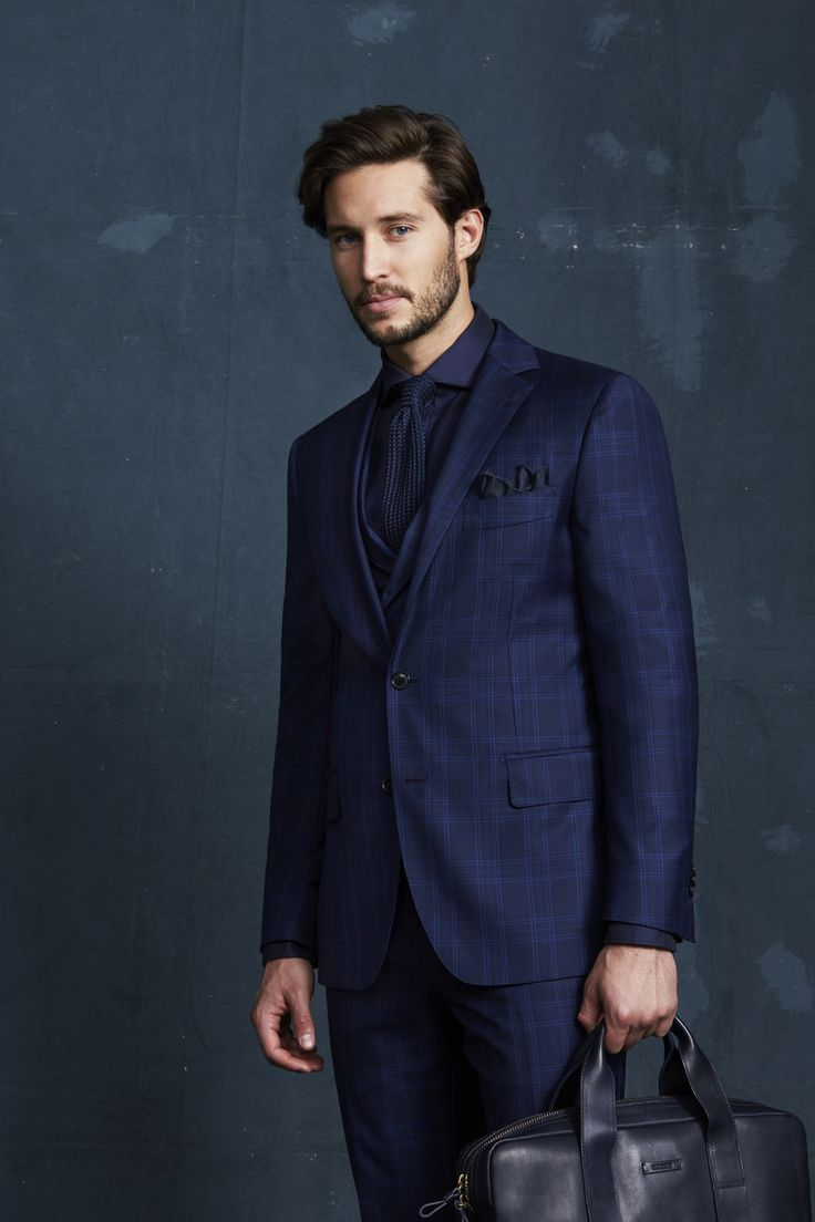 Marischal Navy Suit and Double-Breasted Waistcoat; Tennyson Navy Shirt; Navy Knitted Tie; Navy Pocketchief