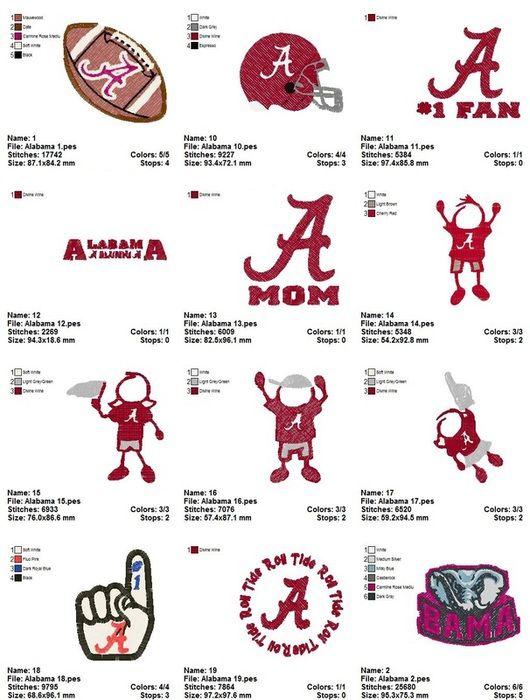 27 University of Alabama Crimson Tide Football Embroidery Designs - Embroidery-Fun.com