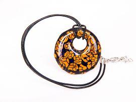 Orange on deep blue Holey Murano glass pendant on a black leather cord. Glass measures 41mm diameter. #BuyKoop #Jewellery