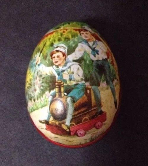 Estate Find - Vintage Advertising Tin in Egg Shape with Children Playing