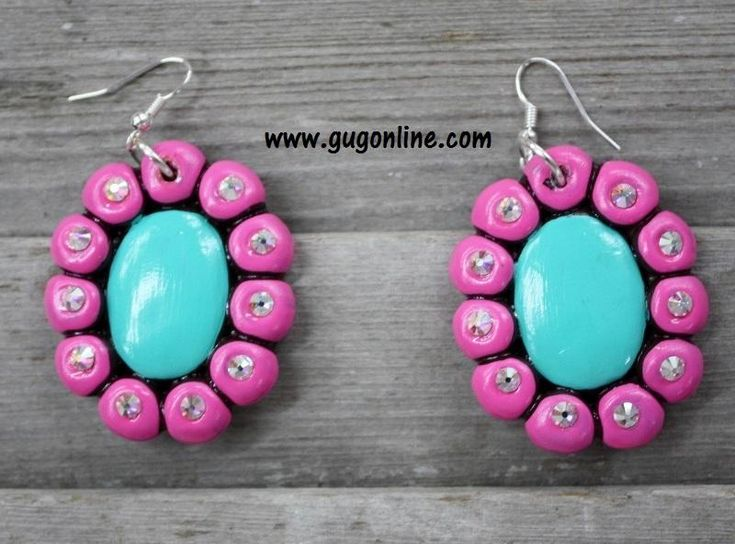 Aleda in Pink and Turquoise Clay Earrings
