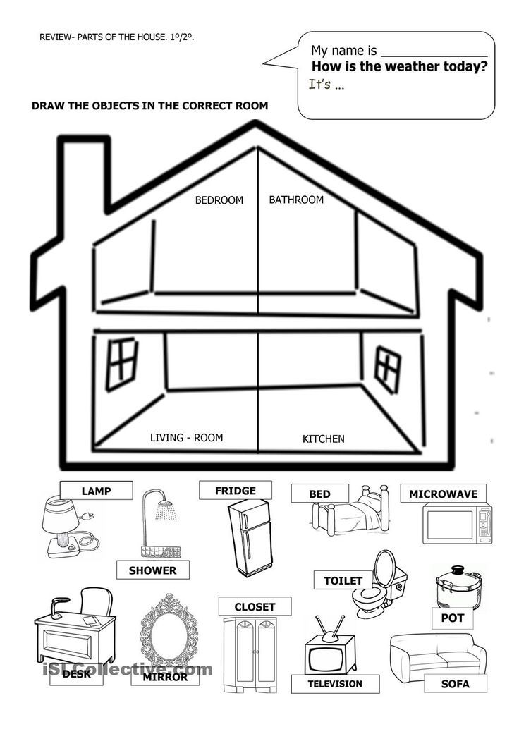 image result for cut and paste parts of the house worksheet colors center casa en ingles. Black Bedroom Furniture Sets. Home Design Ideas