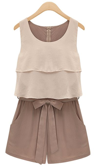 Chocolate Sleeveless Chiffon Jumpsuit