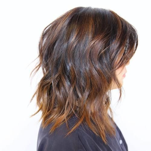 medium brown hairstyle with balayage highlights DO NOT LIKE COLORS LIKE COLOR PLACEMENT & TWO DIFFERENT COLORS ON TOP OF BASE COLOR