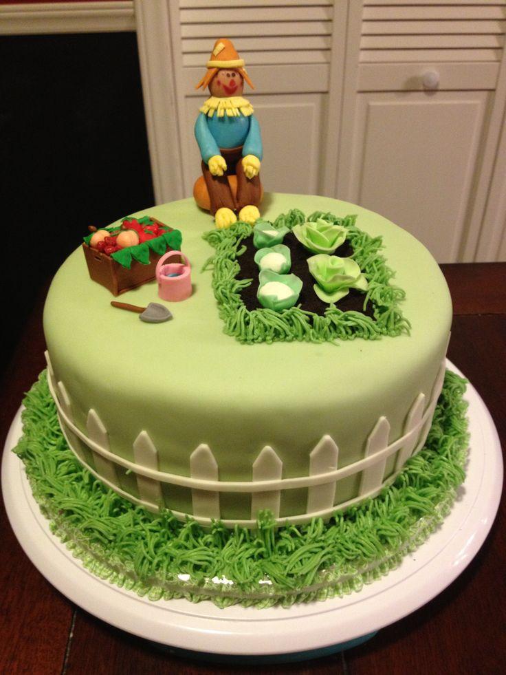 a garden birthday cake