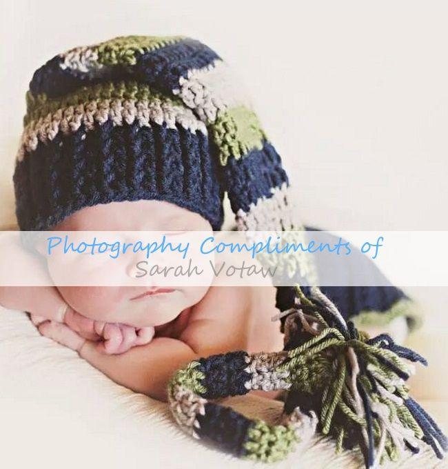 FREE Long tailed baby hat crochet pattern