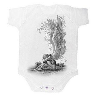 Body bébé gothique blanc avec ange à ailes déployées sur pentagramme