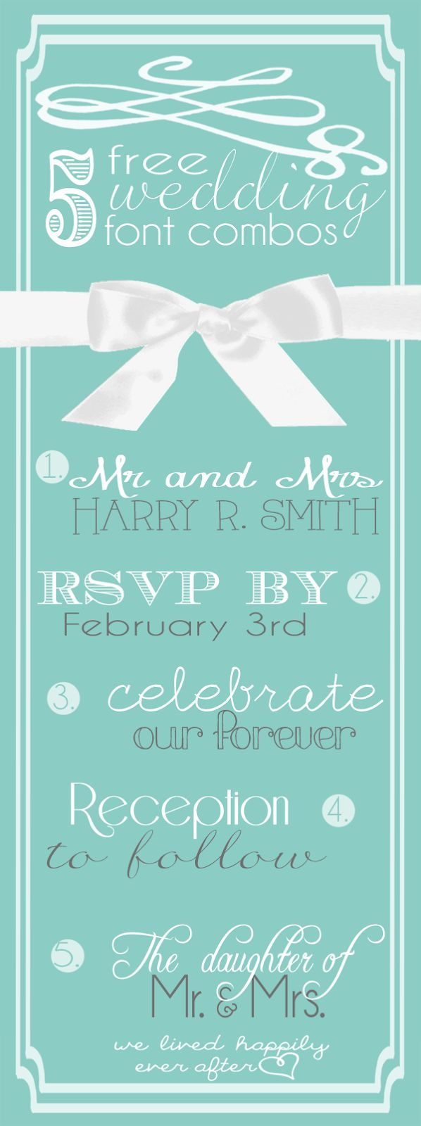 We Lived Happily Ever After: 5 Lovely And Free Wedding Font Combinations