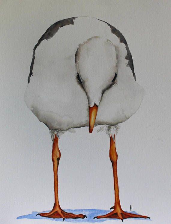 Aquarel vogel vogel kunst voor strand huis originele aquarel