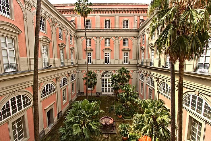 PHOTO: Inner courtyard of the National Museum of Archeology in Naples, Italy