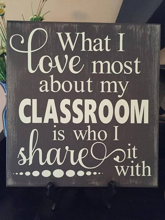 "Custom Painted ""What I Love About My Classroom"" Wood Teacher Sign"
