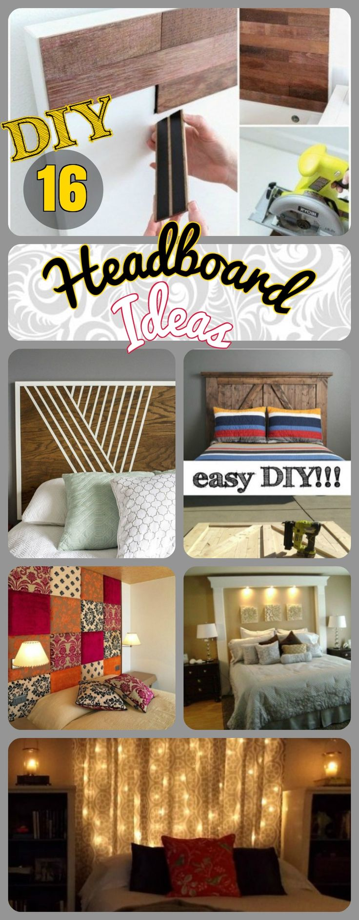 16 DIY Headboard Ideas for a Classy Bedroom on Budget. Easy Rustic Wooden Pallet and Door Headboards + Upholstered Tufted Fabric Cheap and Budget Headboards. And Cut peel and Stick  headboards diy ideas.