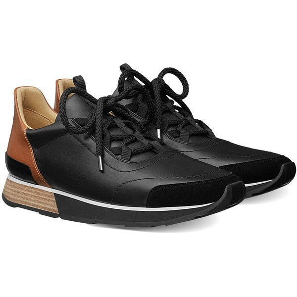 Hermès Miles Sneakers in Black & Gold Suede ($1,100) ❤ liked on Polyvore featuring men's fashion, men's shoes, men's sneakers, mens black suede shoes, mens shoes, mens gold shoes, mens suede shoes and black and gold mens shoes