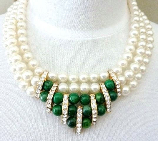 Vintage Malachite Crystal Heavy Glass Pearl Necklace | This vintage piece features a necklace made of 3 strands of heavy simulated pearls (made of glass) with a modernist center accent made of genuine malachite beads and sparkling clear crystals.