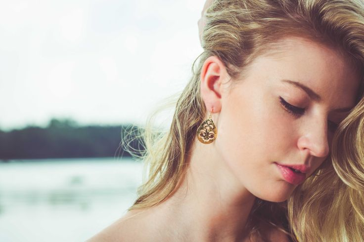 Small Tear Drop Earrings in 22KT Yellow Gold. Shop this look at www.murkani.com.au