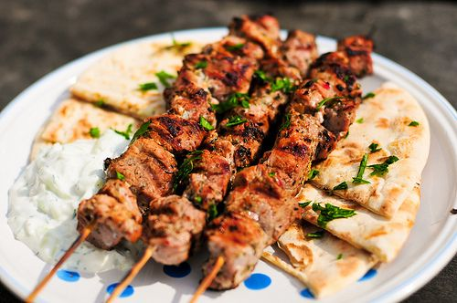 Greek chicken skewers with pita and yogurt dip- I wonder if my hubby would like these....
