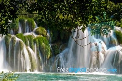 Landscape of a waterfall in Krka national park in Croatia.