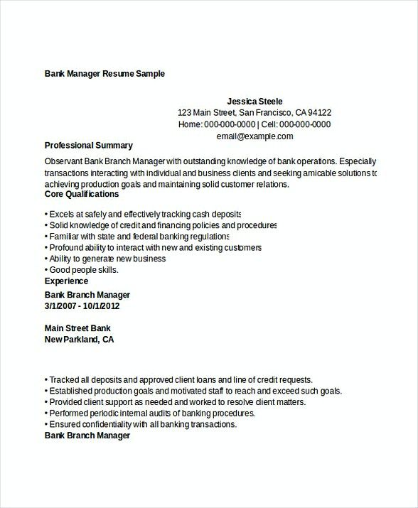 Bank Manager Resume Sample , Bank Branch Manager Resume , This - bank resume samples