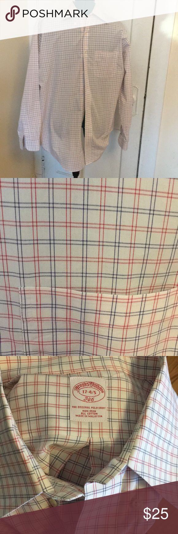 Non iron striped Brooks Brothers Shirt Red white and blue button down Brooks Brothers. Non iron shirt. Would look great with khakis or Chinos. Size 17-4/5. In excellent condition. All offers entertained!! Brooks Brothers Shirts Casual Button Down Shirts
