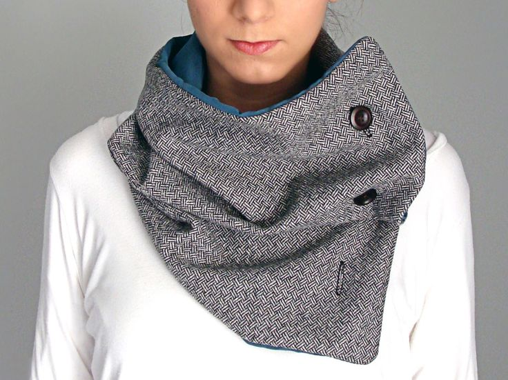 Wool scarf with four wooden buttons in black & white herringbone wool, light petrol - FOR SALE - 56.00€ - Click here to buy: clothbot.gr - clothbotshop.etsy... - Fall Winter 2015 - scarves, accessories, trends, christmas gifts, holidays presents