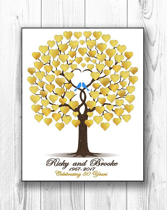 50th Wedding Guestbook Anniversary Gift Personalized Gold Guest Book Golden Digital Printable File In 2018