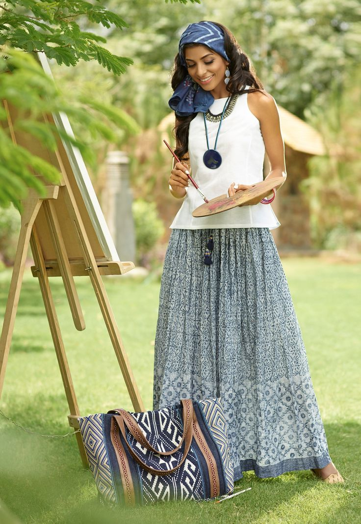 #Indigo #IndigoDiaries #crinkled #skirt #print #handblock #blue #white #summer #fashion #stole #tote #hold-all #bag #chic #cool #ceramic #jewellery #Fabindia