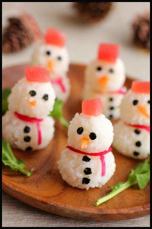 O por qué no hacer unos muñecos de nieve con los mismos ingredientes que el sushi (sushi balls)