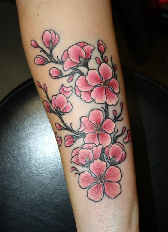 cherry blossom new school tattoo - Google Search