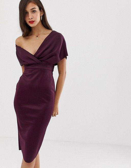 8280b1c6514f ASOS DESIGN | ASOS DESIGN off shoulder wrap midi dress with tie detail