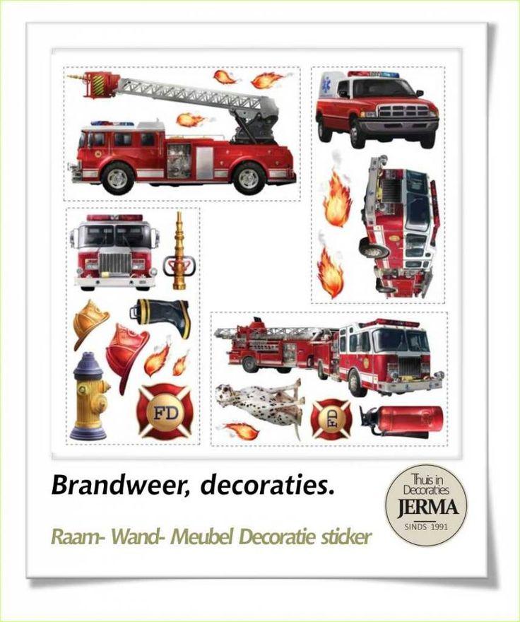 Decoratie stickers meubelstickers brandweer muurstickers brandweer themakamer jongenskamer - Kinderen slaapkamer decoratie ideeen ...