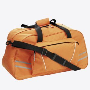 PromoBrand-Promotional sports holdall. This branded sports holdall is made from a high quality 600D polyester. Featuring reflective stripes a main zipped compartment, a zipped side compartment, and with two carry handles, and one adjustable carry strap.    Available in black, blue, orange, red.