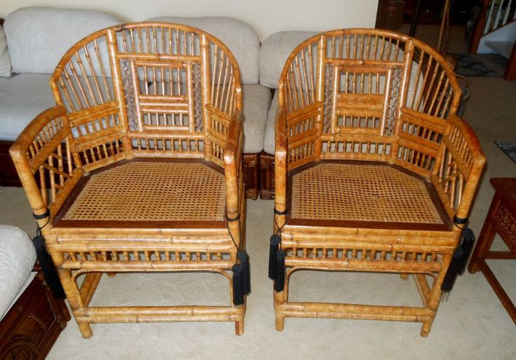 Pair Of Chinese Chippendale Asian Arm Chair Rattan Bamboo
