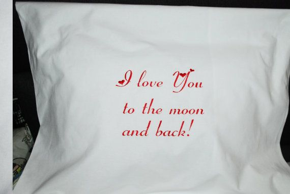 I love You to the moon and back embroidered pillowcase, Mother's Day Gifts