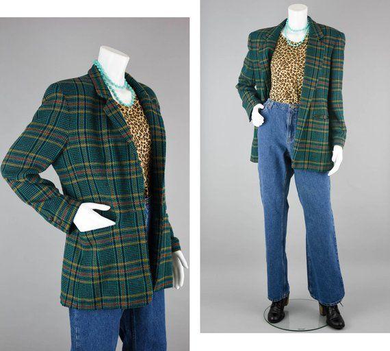 Vintage Oversize Blazer 80s Boyfriend Geometric Bright Purple Blue Black