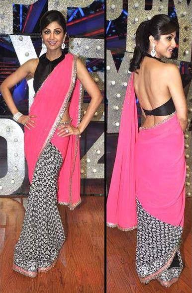 USD 31.11 Shilpa Shetty Pink Manish Malhotra Half N Half Saree