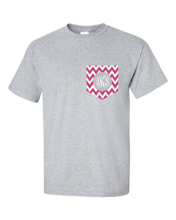 Monogram Chevron Pocket  tee  Pocket t shirt tshirt Monogrammed Personalized Tees XL REE