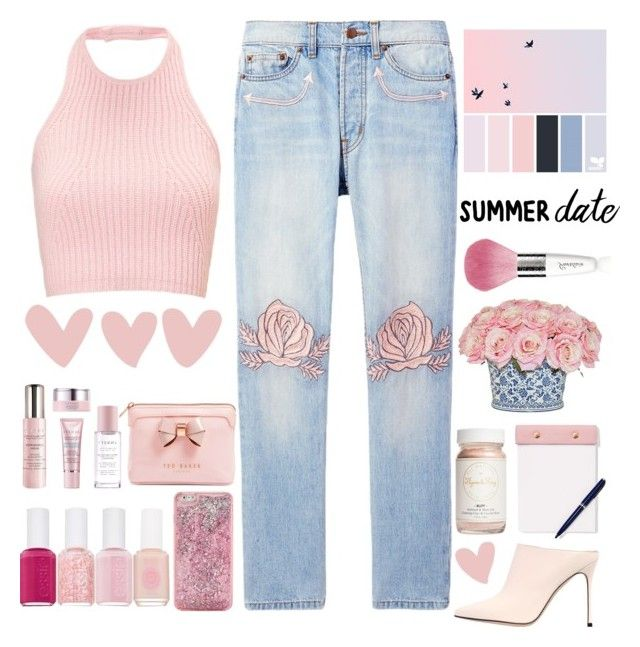 """Summer date 💓."" by parkmona ❤ liked on Polyvore featuring Bliss and Mischief, The French Bee, Ted Baker, By Terry, ban.do, StudioSarah, Flynn&King, Essie, Sergio Rossi and Guerlain"