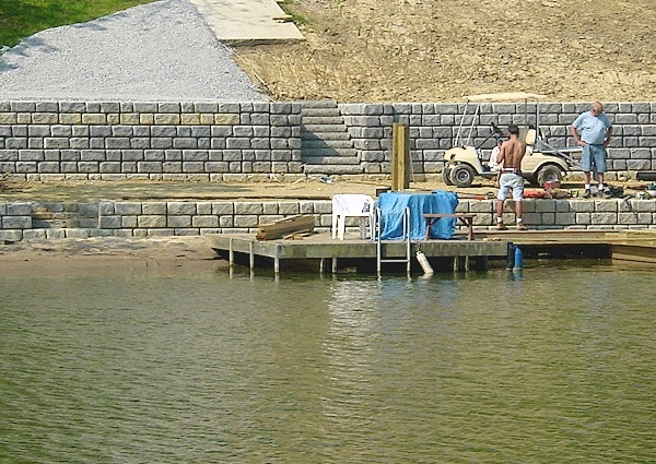 Lake retaining walls google search lake houses for Waterfront deck ideas