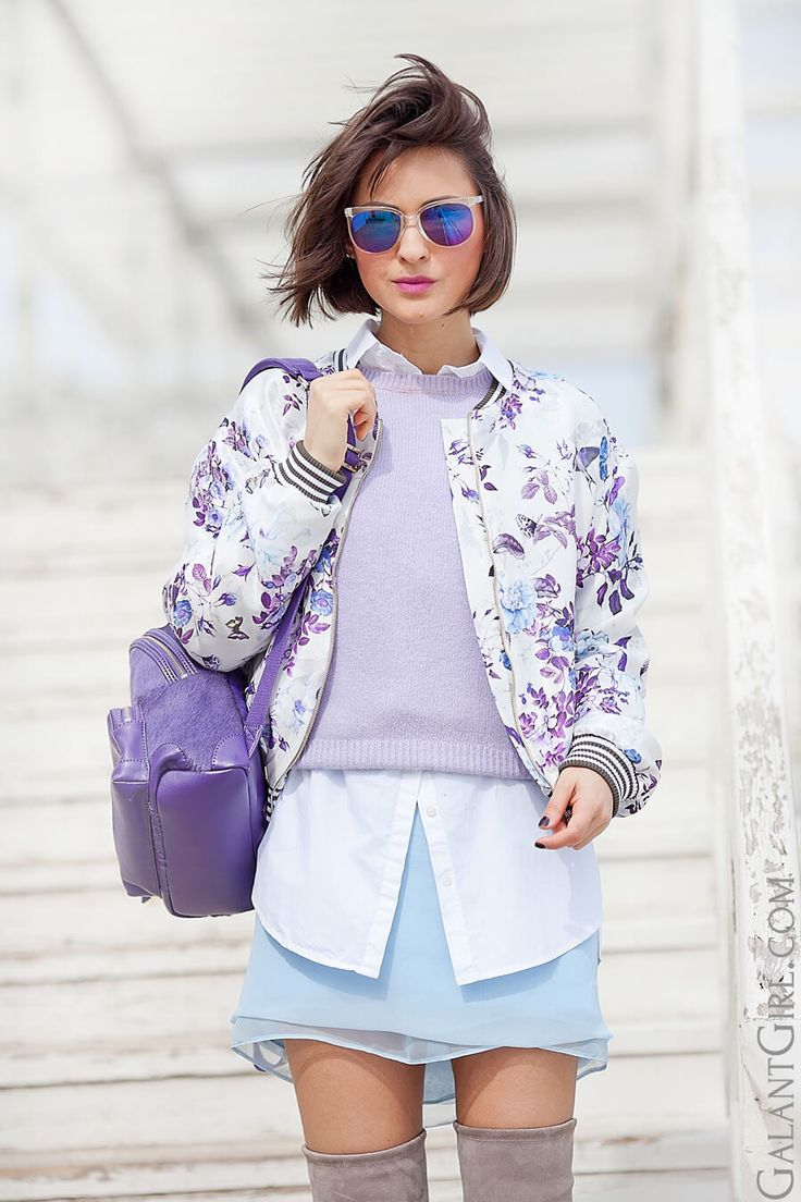 flower printed bomber jacket | floral print jacket | mini skirt | spring outfit ideas | layering in fashion | chic style | street style | spring outfit ideas | ellena galant