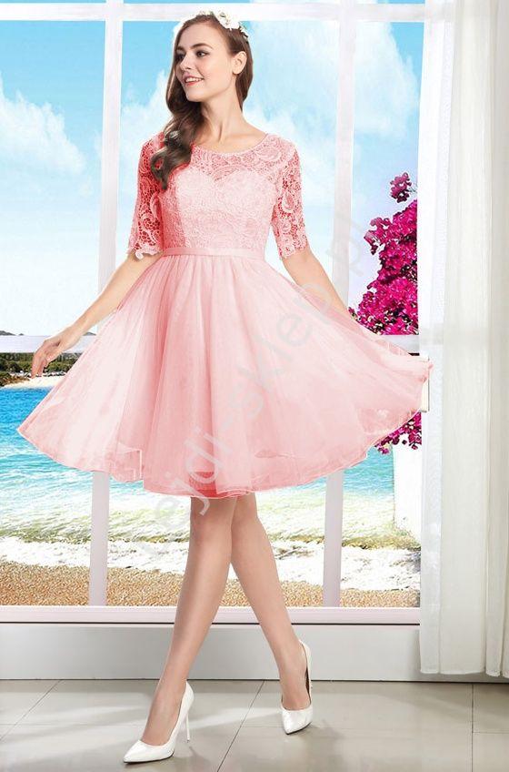 Light pink with guipure. Prom dress. Jasnoróżowa sukienka na wesele, studniówkę, komunie z gipiurą  www.lejdi.pl